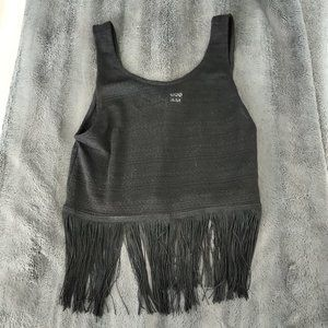 Black Crop Top with Threads